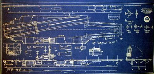 US Navy Aircraft Carrier USS Kitty Hawk CVA-63 Blueprint 17x35 (270)