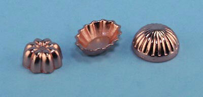 1:12 Scale Dollhouse Miniature Set of 3 Copper Bundt Cake Mold Pans NEW #XV10083