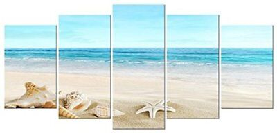 Pyradecor Seashell 5 Panels Seascape Giclee Canvas Prints Landscape Pictures
