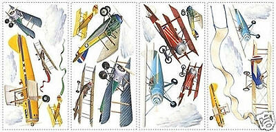 Vintage Airplanes Wall Stickers 22 Decals Room Decor Planes Clouds Scrapbooking