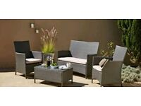Rattan Effect Grey 3 Seater Highback Sofa Set (brand new and boxed)