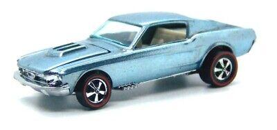1968 Hot Wheels Redline Custom Mustang ice blue light blue w/ white interior