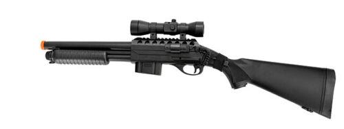 DA  Airsoft Spring Tension Shotgun w/ Accessories - Black 400FPS