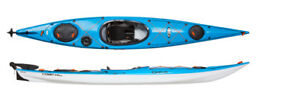 Elie 140 Strait touring kayaks with rudder in green or blue