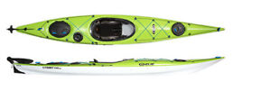 Elie Strait 140 XE touring kayaks with rudder in green or blue