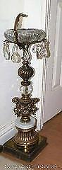 Brass and Marble cherub prism ashtray stand