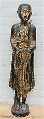 Very Large Antique Very Old Burmese Sanga Gilt Wood Jeweled Wandering Buddha Statue