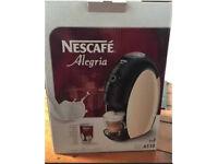 Coffee machine (Nescafé Alegria) with matching glass cups/saucers in box