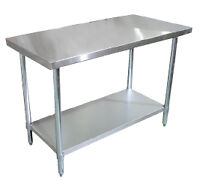 Stainless steel table, sink, shelf on Sale