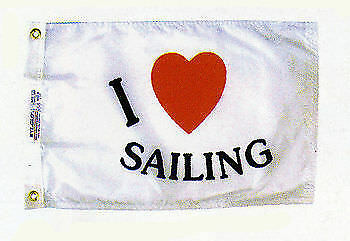 I LOVE SAILING Boat Sailboat Flag Pennant I Heart Sailing