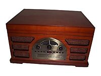 Wooden Retro Vinyl Turntable 3 Speed AM/FM CD and Tape Player Record player