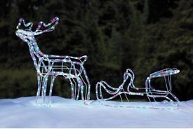 3D LED multi coloured reindeer and sleigh