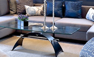 Modern Glass, Steel and Chrome Coffee Table