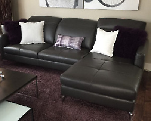 New Sheldon Grey Brown Leather Sectional