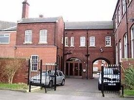 This is a listed building housing 5–6 companies, offering functional accommodation and car parking.