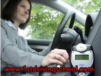 Approved driving school car with in-car breathalyzer  for road t