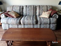 Upholstered Over Stuffed Couch and Love Seat with Pillows