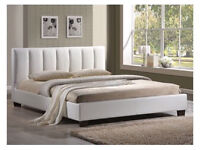 White leather double bed