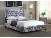 Silver crushed velvet bed frame with studded head board - king size