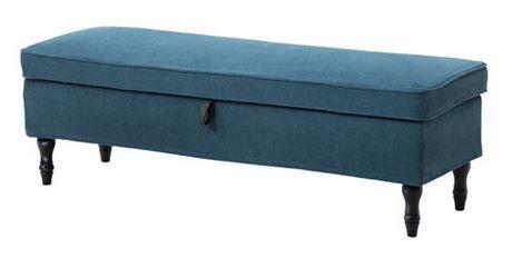 Ikea STOCKSUND Ottoman with removable Tallmyra Blue Cover