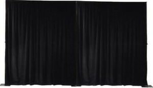 Black Eyelet Velour Stage Curtains - Flame retardant - certified
