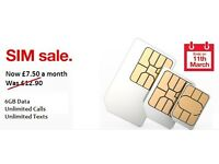 Three sim only contract. 6GB Data Unlimited Calls andTexts. ONLY £7.50 per month