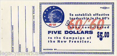 1960 Kennedy Johnson New Frontier Campaign Contribution Receipt Blank (1296)