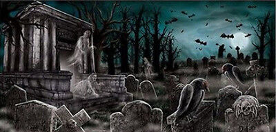 HALLOWEEN party BANNER Scene Setter HAUNTED CEMETERY wall poster 5'  - Cemetery Halloween Party