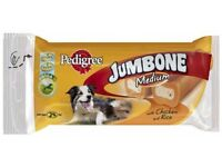 10 pks Pedigree Jumbone Medium Dog Treats with Chicken & Rice (each pk with 2 treats so 20 in total)