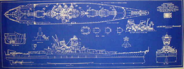 WW2 Japanese Battleship Yamato 1941 Blueprint Plan 13x34 (217)