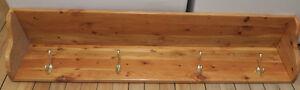 Wood Shelf with Coat Hooks