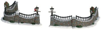 Lemax Village STONE WALL FENCE w/ Red Bird - Set of 6