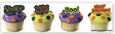 Halloween Signs Logo Decoration Cake Cupcake Toppers x12 Ghost Spooky Favors - Halloween Cake Decorating Kit