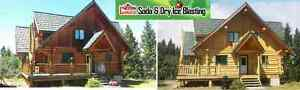 Property Restorations Soda and Dry Ice Blasting Log home/brick