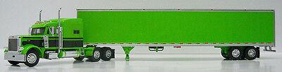 DCP LIME GREEN BLACK PETERBILT 379 GREEN VAN TRAILER DIECAST 1/64 33021