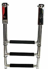 316 STAINLESS TELESCOPIC BOAT BOARDING LADDER - 3 STEP NEW Yacht Boat Ladder