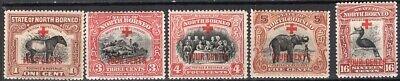 BRITISH NORTH BORNEO 1918 SEMI POSTAL STAMP Sc.# B31, B 33/5 AND B40 MH RED CROSS
