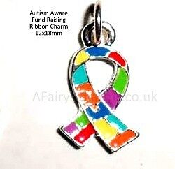 10 Ribbon Charms AUTISM AWARENESS - BACK IN STOCK  - Fund Raising Item