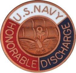U.S.N.  Navy HONORABLE DISCHARGE Military Hat Pin