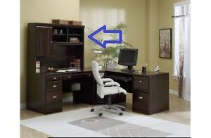 Dark Wood DeFehr Desk and Hutch with Built-In Light