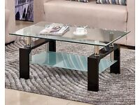 STUNNING GLASS COFFEE TABLE IN BLACK,WHITE OR WALNUT WITH CHROME LEGS BRAND NEW BOXED BARGAIN PRICE