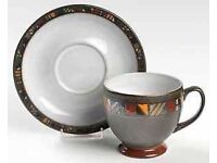 Denby Marrakesh design 6 Tea Cups & Saucers