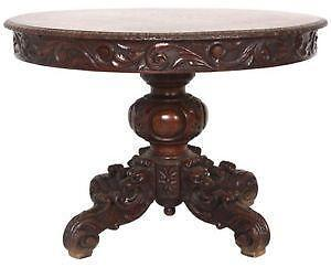 Antique Round Table on vintage game table chairs