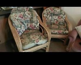 2 Large cane conservatory chairs