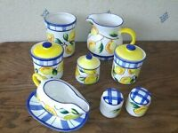 Italian pottery 9 items lemon motif not stamped