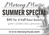Guitar, Ukulele, Percussion lessons - SUMMER SPECIAL