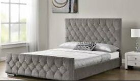 Brand New Double Bed 4ft 6 - Grey with Diamonte Studs