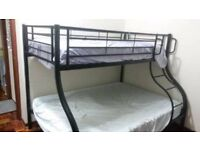 Metal double plus single bunk bed