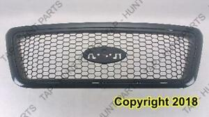 Grille Xlt Model Black Frame With Black Honeycomb Insert Ptm Exclude Heritage Model Ford F150 2004-2005