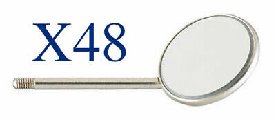 48 Pieces Dental Mouth Mirrors 4 Simple Stem Stainless Steel Autoclaveable